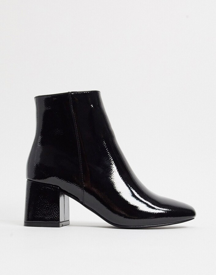 New Look patent block heeled boot in black