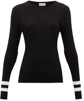 Moncler Ribbed Intarsia-knit Sweater - Womens - Black White