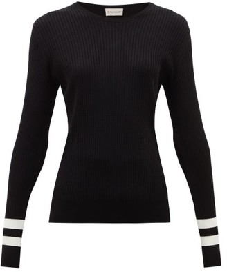 Moncler Ribbed Intarsia-knitted Sweater - Womens - Black White