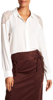 Laundry by Shelli Segal Lace Trim Textured Blouse