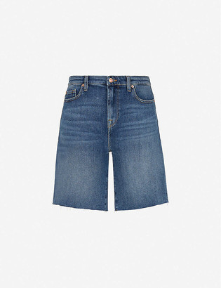 7 For All Mankind Easy raw-edged denim shorts
