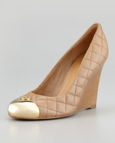 Tory Burch Kaitlin Quilted Cap-Toe Wedge, Clay Beige