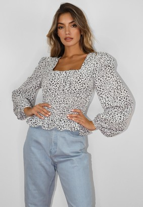 Missguided Tall White Printed Gathered Waist Puff Sleeve Blouse