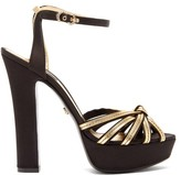 Dolce & Gabbana Peep-toe Satin & Leather Platform Sandals - Womens - Black Gold