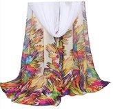 Datework Women Long Soft Wrap Shawl Chiffon Scarf (Beige)