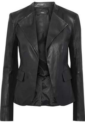 Theory Bristol Jersey-paneled Peplum Leather Jacket