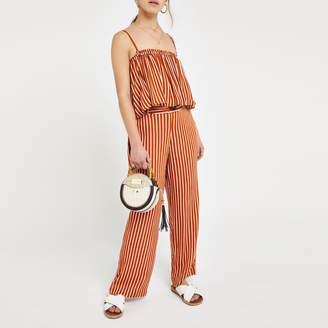 River Island Womens Petite rust stripe crop top