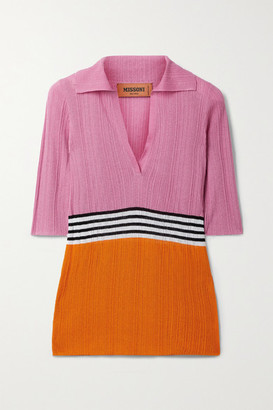 Missoni Striped Ribbed Crochet-knit Top - Pink