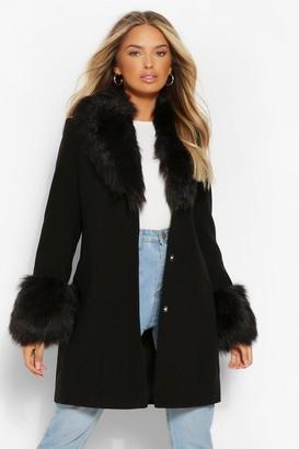 boohoo Faux Fur Collar & Cuff Wool Look Coat