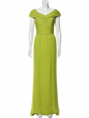Oscar de la Renta Silk Long Dress Green