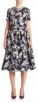 Erdem Sofia Matelassé Floral Skirt