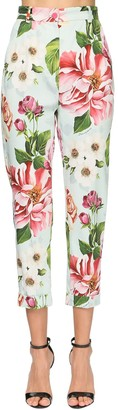 Dolce & Gabbana Flower Print Cotton Drill Capri Pants