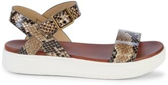 Mia Melvina Python-Embossed Flatform Sandals