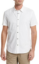 John Varvatos Grid-Stitch Short-Sleeve Snap Shirt, White