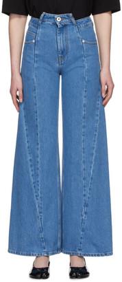 Maison Margiela Blue Decortique Asymmetric Wide-Leg Jeans