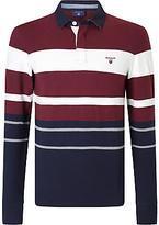 Gant Long Sleeve Multi Stripe Rugby Shirt, Purple/wine
