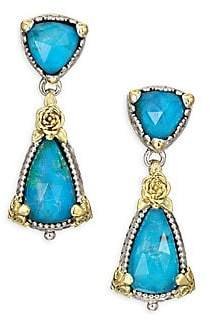 Konstantino Women's Iliada Chrysocolla, Quartz, 18K Yellow Gold, Sterling Silver Double Ring Drop Earrings