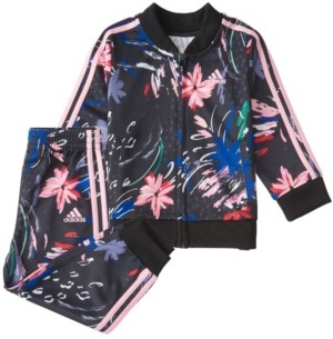 adidas Baby Girls Zip Front Printed Jacket & Tricot Jogger Set