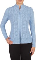 Nygard Women's Petite Alia Long Sleeve Mock Neck Zip Front Cardigan