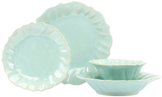 Vietri Set of 4 Incanto Stone Ruffle Place Setting - Aqua