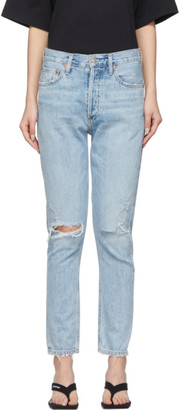A Gold E Agolde AGOLDE Blue Jamie Light Wash Classic Fit Jeans