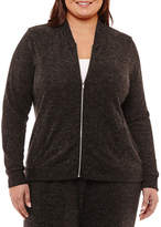 Liz Claiborne Long Sleeve Bomber Jacket- Plus