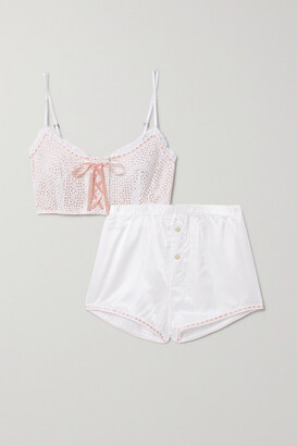 Morgan Lane Hartley Martine Lace-up Broderie Anglaise Woven Pajama Set - White