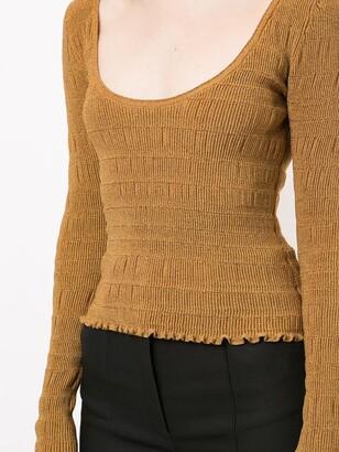 Proenza Schouler Scoop Neck Smocked Knit Top