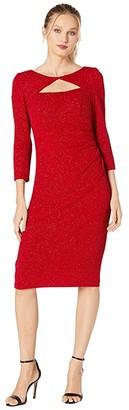 Alex Evenings Midi Length Sheath Dress with Cutout Neckline (Red) Women's Dress