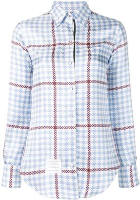 Thom Browne Gun Club overcheck silk shirt