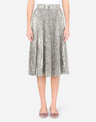 Dolce & Gabbana Pleated Midi Skirt With Mini-Sequins