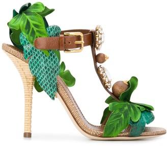Dolce & Gabbana Keira leaf applique bejewelled sandals
