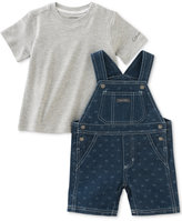 Calvin Klein 2-Pc. T-Shirt & Denim Overall Set, Baby Boys (0-24 Months)