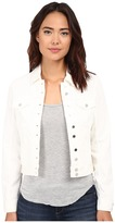 Blank NYC White Denim Jacket in White Lines Women's Coat