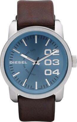 Diesel Men's Double Down Quartz Leather Three-Hand Watch Color: Brown (Model: DZ1512)