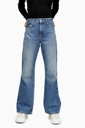 Topshop Womens Two 90S Rigid Flare Skinny Jeans - Mid Stone
