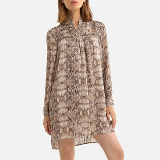 See U Soon Snake Print Mini Dress with High-Neck
