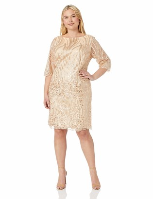Brianna Women's Plus Size Embroidered Sequin Short Dress