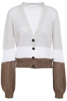 Brunello Cucinelli Embellished Color-block Linen And Silk-blend Cardigan