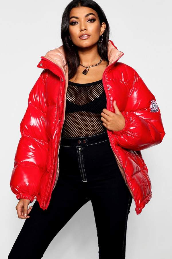 Coated Funnel Puffer Jacket
