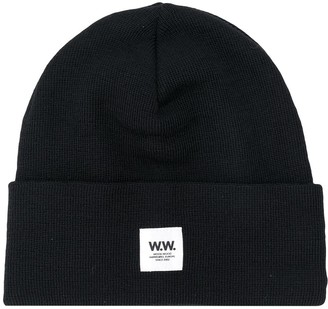 Wood Wood Ribbed Logo Patch Beanie Hat