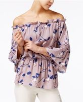 Say What Juniors' Printed Off-The-Shoulder Peasant Top