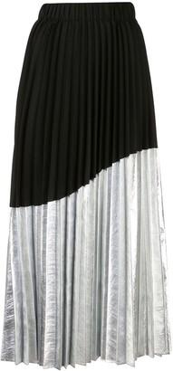 Nude Asymmetrical Pleated Skirt