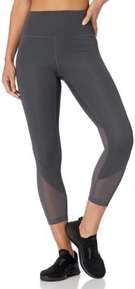 "Core 10 Amazon Brand Women's Race Day High Waist Run Mesh 7/8 Crop Legging - 24"""