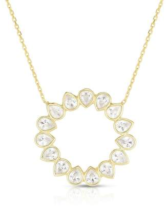 Sphera Milano 18K Gold Plated Sterling Silver CZ Open Circle Pendant Necklace