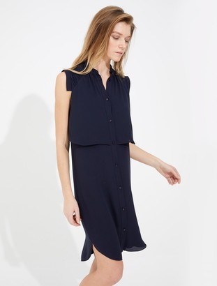Halston Sleeveless Shirtdress with Pleating Detail