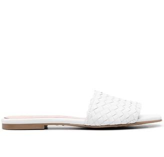 Pretty Ballerinas Woven Leather Slip-On Sandals