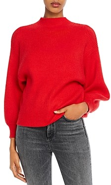 Line & Dot Funnel Neck Ribbed Sweater