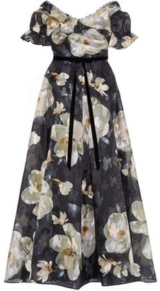 Marchesa Off-the-shoulder Floral-print Fil Coupe Organza Gown
