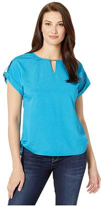Calvin Klein Short Sleeve Top w/ Bar Hardware (Ocean) Women's Clothing